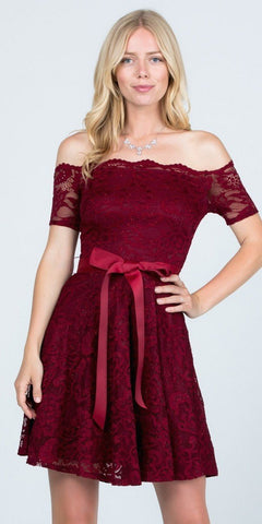 Burgundy Homecoming Short Dress Off-Shoulder with Ribbon Belt