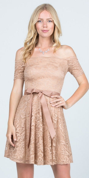Champagne Homecoming Short Dress Off-Shoulder with Ribbon Belt