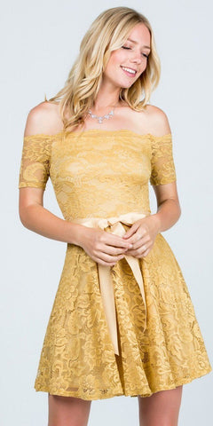 Gold Homecoming Short Dress Off-Shoulder with Ribbon Belt