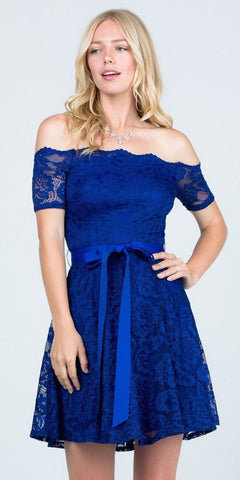 Royal Blue Homecoming Short Dress Off-Shoulder with Ribbon Belt