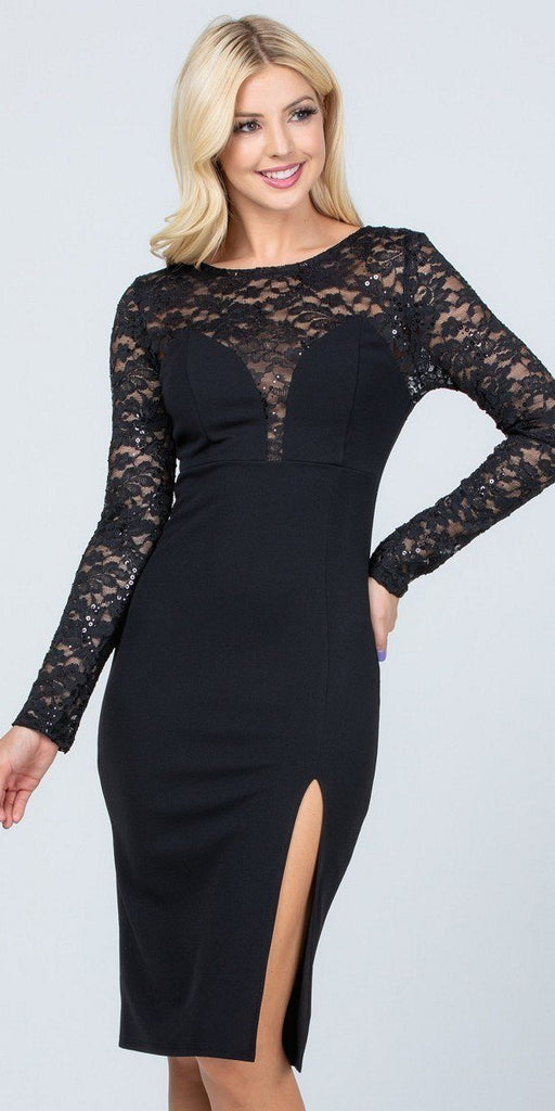 Long Sleeved Knee-Length Cocktail Dress Black