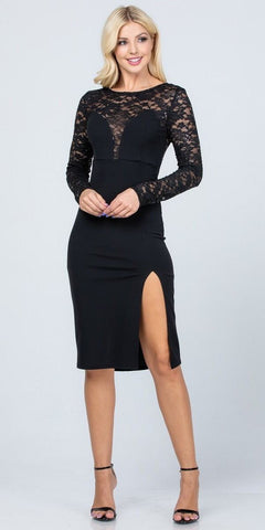V-Neckline Long Black Chiffon Lace Column Dress