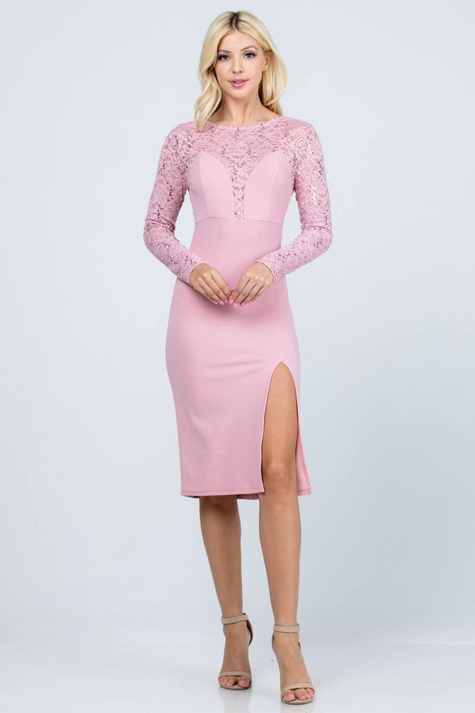 Long Sleeved Knee-Length Cocktail Dress Blush