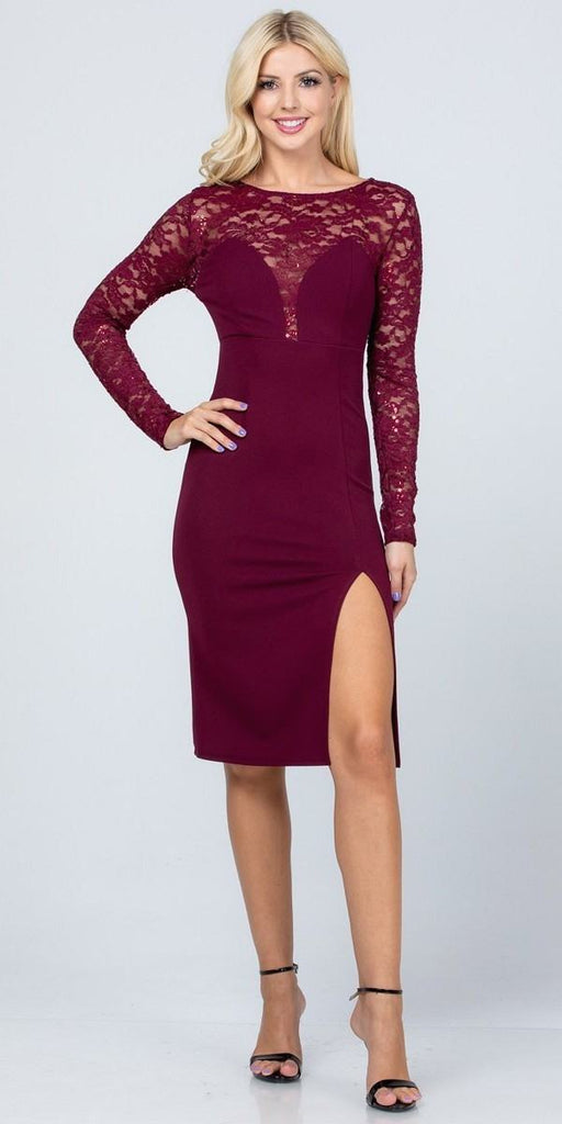 Long Sleeved Knee-Length Cocktail Dress Burgundy