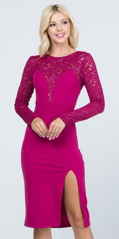 Long Sleeved Knee-Length Cocktail Dress Fuchsia
