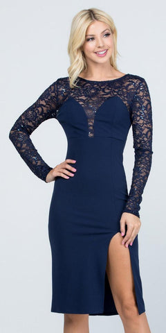 Long Sleeved Knee-Length Cocktail Dress Navy Blue
