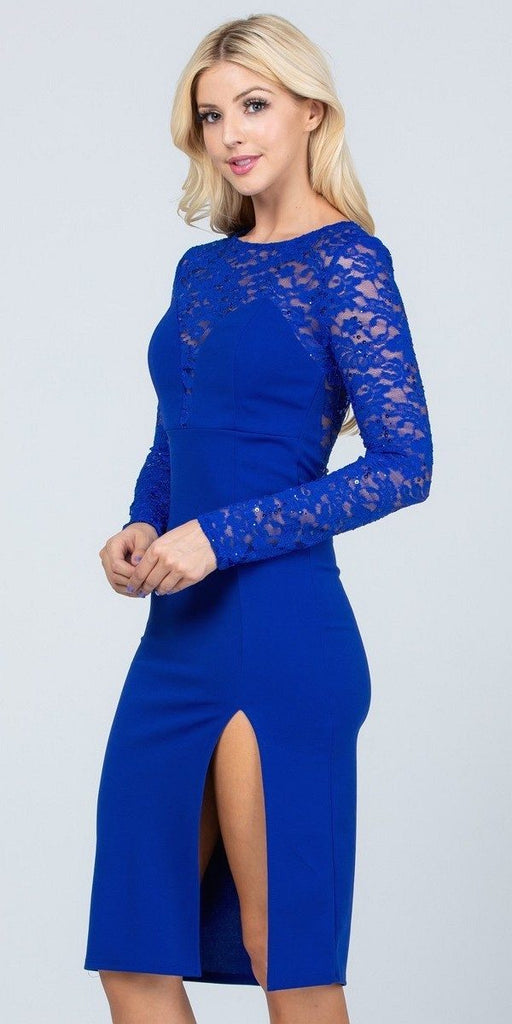 Long Sleeved Knee-Length Cocktail Dress Royal Blue