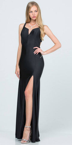 A-Line Black Long Formal Dress Criss-Cross Back with Slit