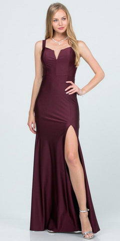 Satin Long A-Line Gown Red Leg Slit Criss Cross Back