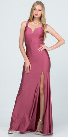 A-Line Mauve Long Formal Dress Criss-Cross Back with Slit
