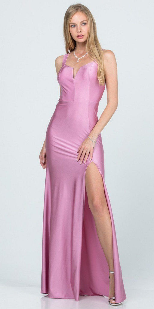 A-Line Orchid Smoke Long Formal Dress Criss-Cross Back with Slit