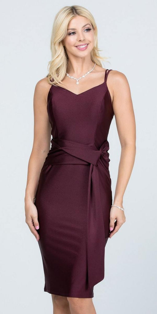 V-Neck Short Cocktail Dress with Ribbon Sash Dark Burgundy