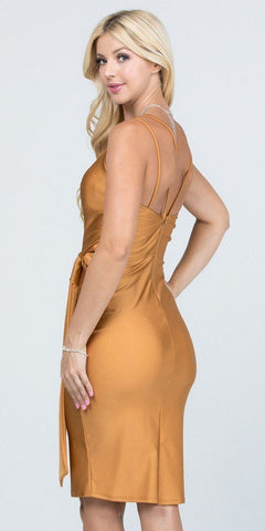 V-Neck Short Cocktail Dress with Ribbon Sash Gold