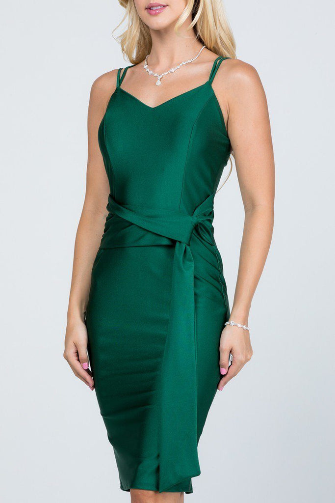 V-Neck Short Cocktail Dress with Ribbon Sash Hunter Green