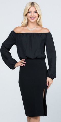 Off-Shoulder Blouson Dress Long Sleeves with Slit Black
