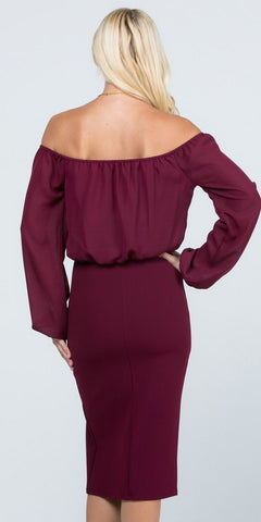 Off-Shoulder Blouson Dress Long Sleeves with Slit Burgundy