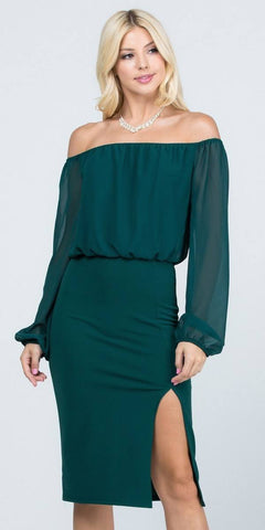Off-Shoulder Blouson Dress Long Sleeves with Slit Hunter Green