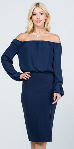Off-Shoulder Blouson Dress Long Sleeves with Slit Navy Blue