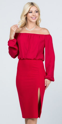 Off-Shoulder Blouson Dress Long Sleeves with Slit Red
