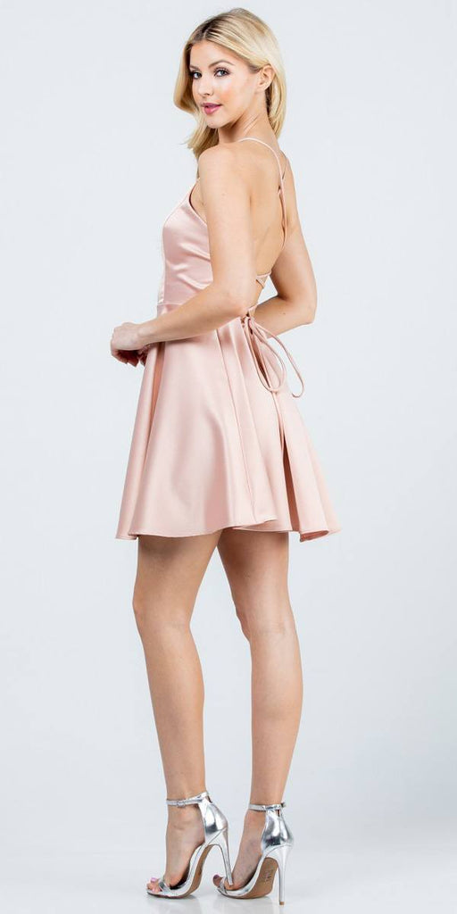 Short Fit and Flare Blush Dress Spaghetti Straps Criss Cross Back