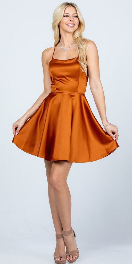 Short Fit and Flare Cognac Dress Spaghetti Straps Criss Cross Back