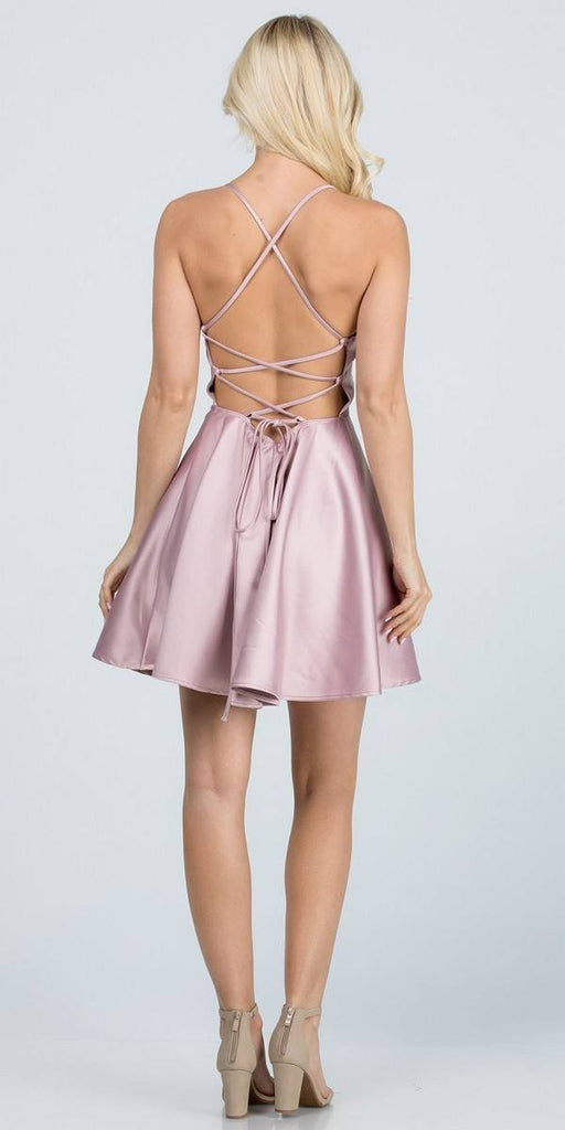 Short Fit and Flare Dusty Pink Dress Spaghetti Straps Criss Cross Back