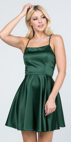 Short Fit and Flare Hunter Green Dress Spaghetti Straps Criss Cross Back