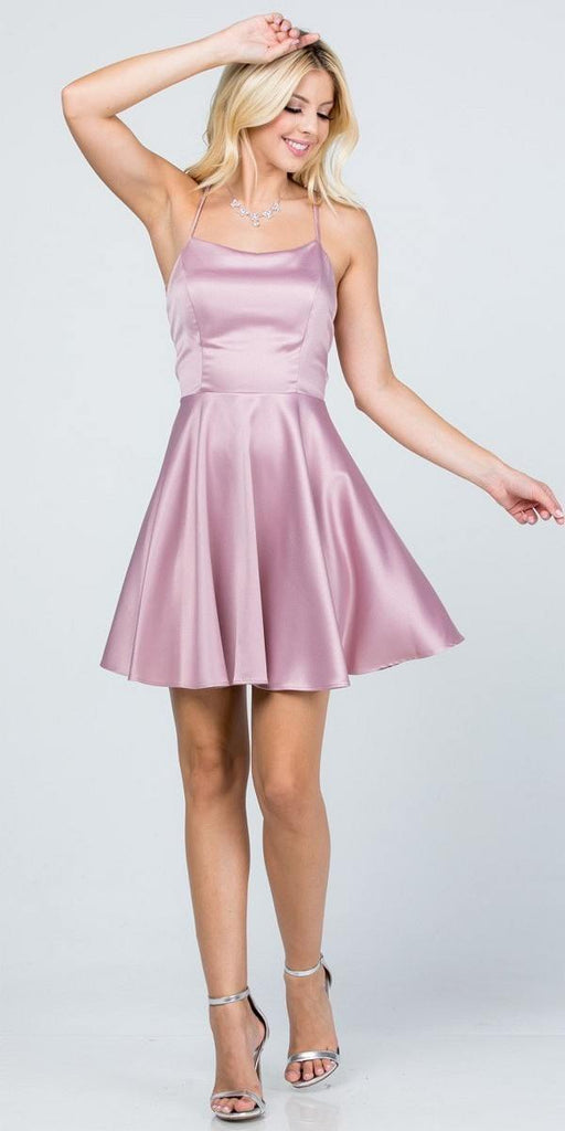 Short Fit and Flare Mauve Dress Spaghetti Straps Criss Cross Back