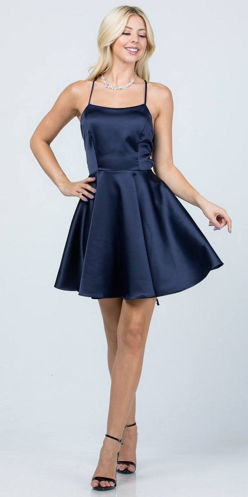 Short Fit and Flare Navy Blue Dress Spaghetti Straps Criss Cross Back