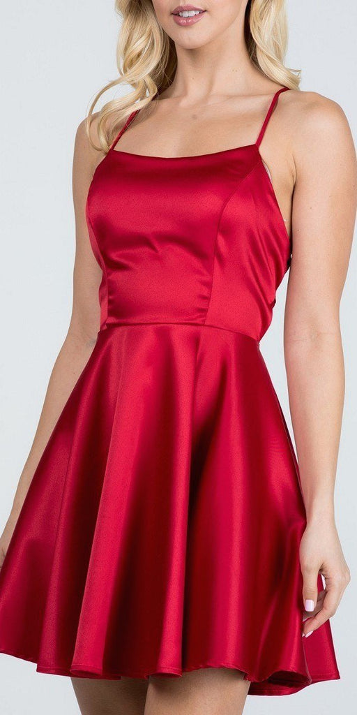 Short Fit and Flare Red Dress Spaghetti Straps Criss Cross Back
