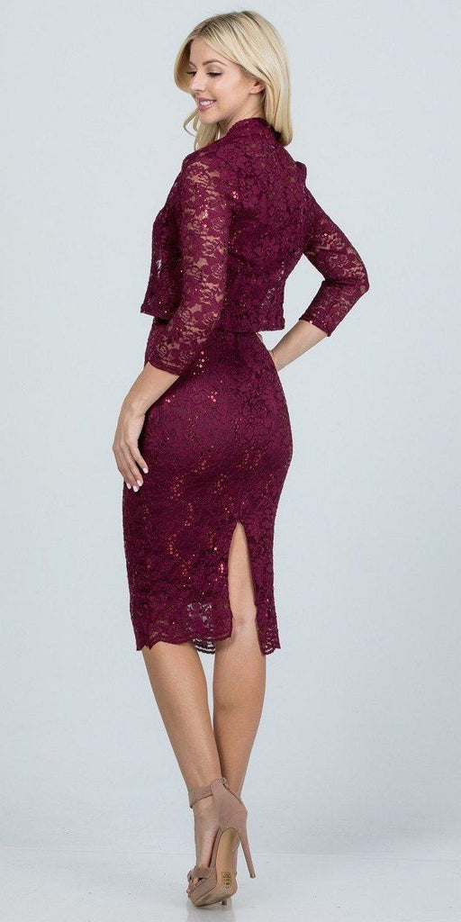 La Scala 25762 Knee Length Burgundy Lace Dress Mid Length Sleeve Jacket Pencil Skirt