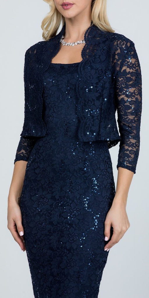 La Scala 25762 Knee Length Navy Blue Lace Dress Mid Length Sleeve Jacket Pencil Skirt