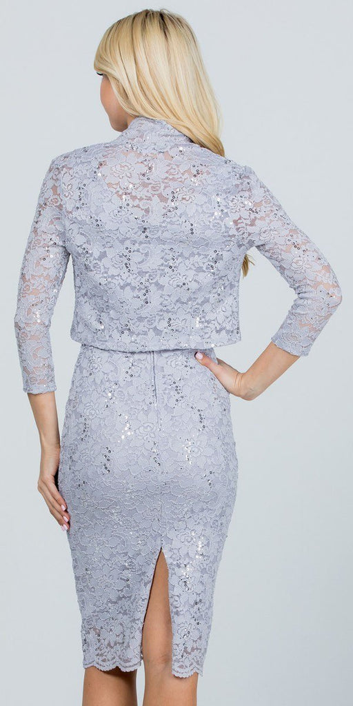 La Scala 25762 Knee Length Silver Lace Dress Mid Length Sleeve Jacket Pencil Skirt