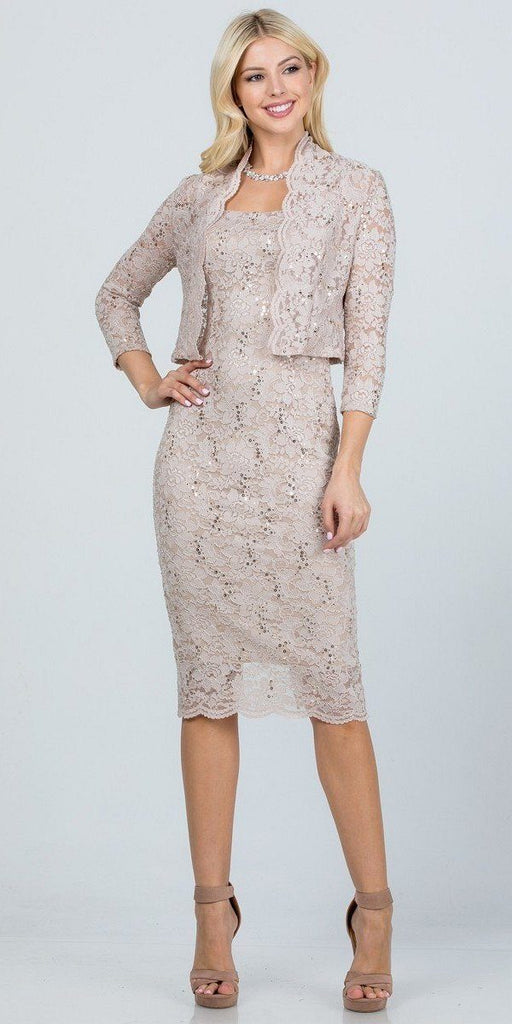 La Scala 25762 Knee Length Taupe Lace Dress Mid Length Sleeve Jacket Pencil Skirt