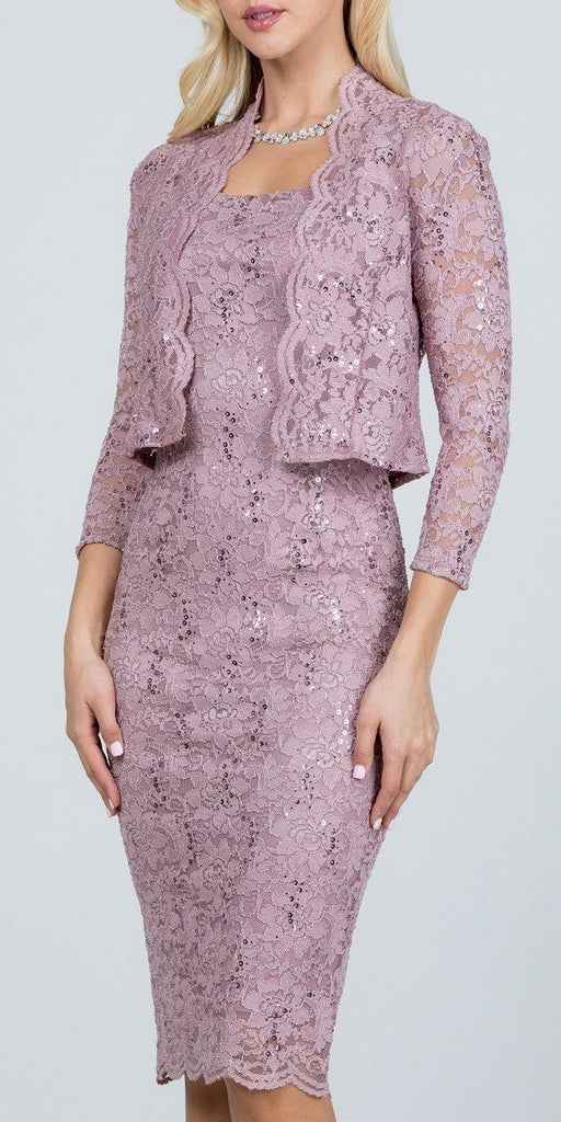 La Scala 25762 Knee Length Wood Rose Lace Dress Mid Length Sleeve Jacket Pencil Skirt