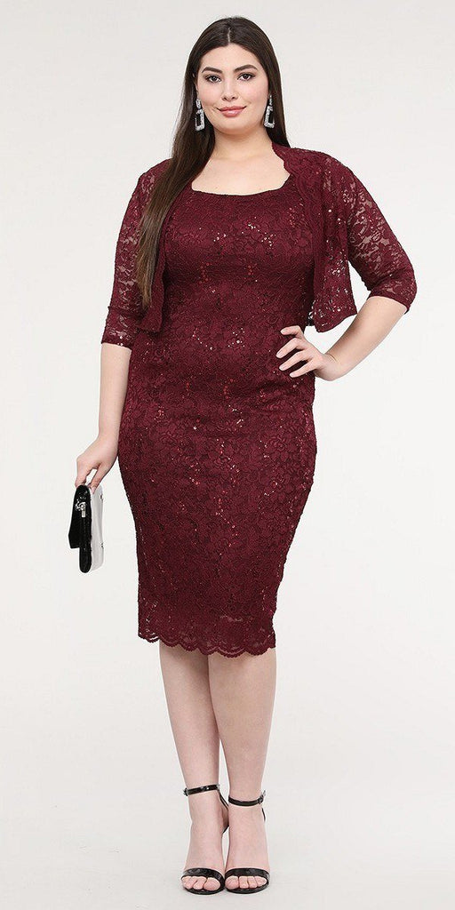 La Scala 25762 Plus Size Knee Length Burgundy Lace Dress Mid Length Sleeve Jacket Pencil Skirt