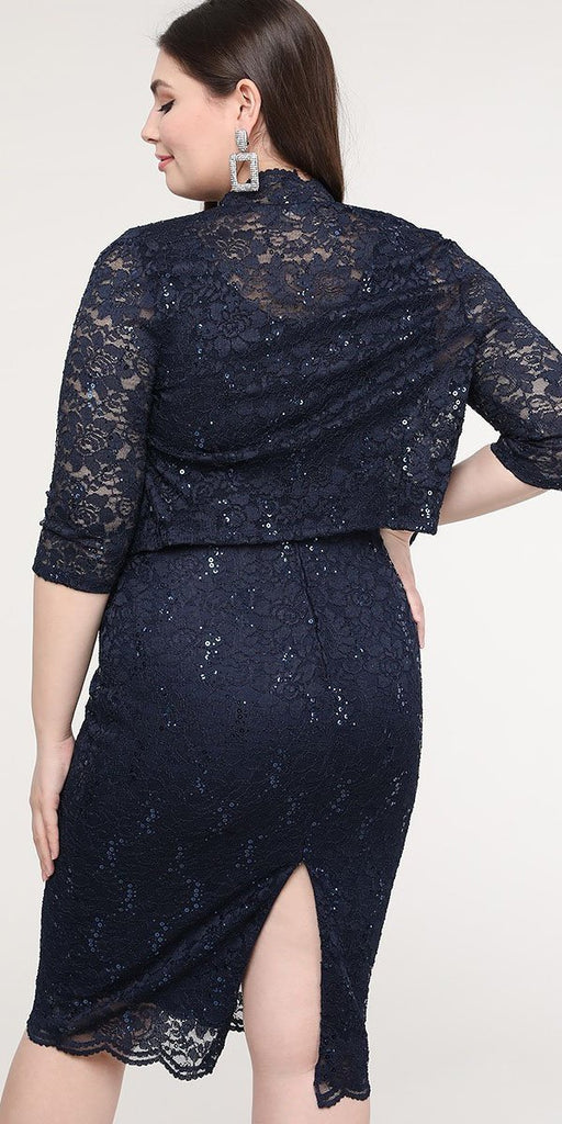 La Scala 25762 Plus Size Knee Length Navy Blue Lace Dress Mid Length Sleeve Jacket Pencil Skirt