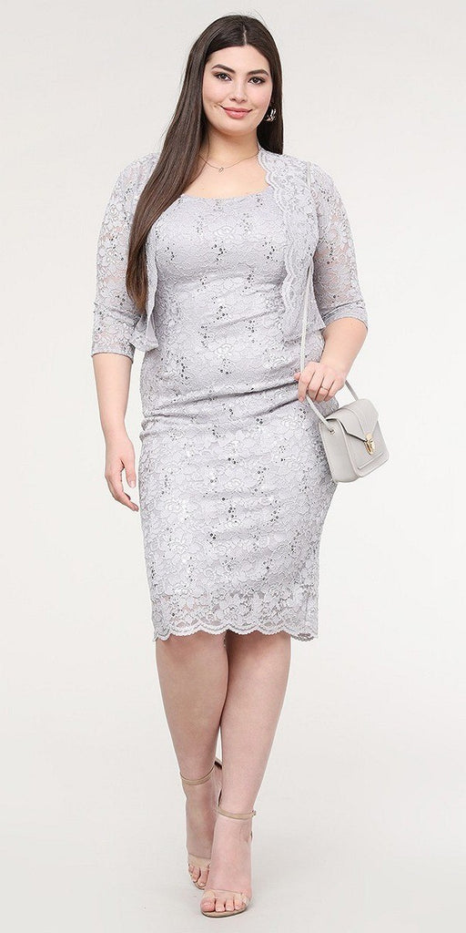 La Scala 25762 Plus Size Knee Length Silver Lace Dress Mid Length Sleeve Jacket Pencil Skirt