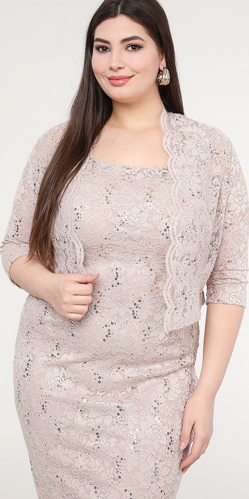 La Scala 25762 Plus Size Knee Length Taupe Lace Dress Mid Length Sleeve Jacket Pencil Skirt