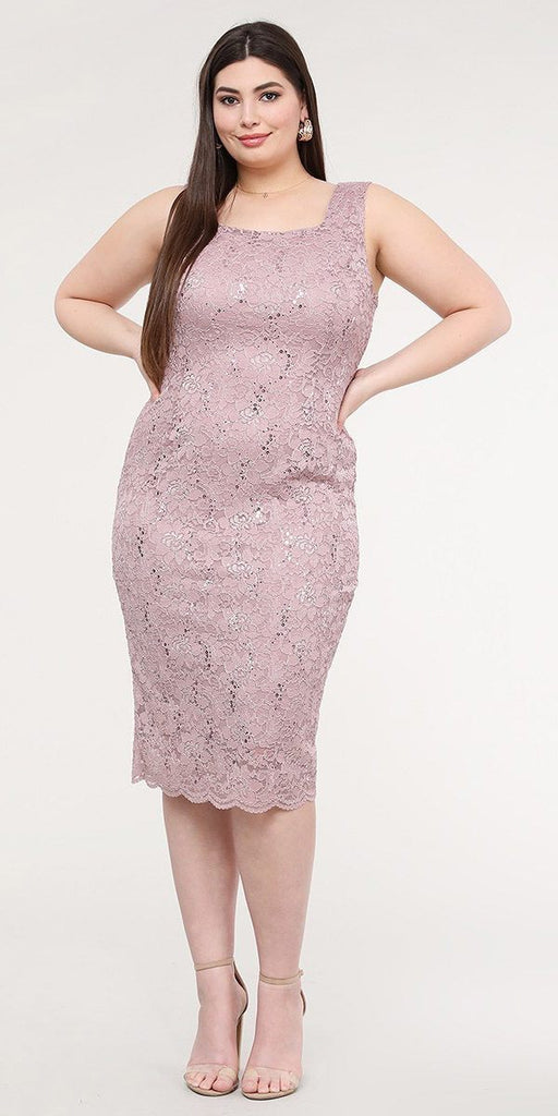 La Scala 25762 Plus Size Knee Length Wood Rose Lace Dress Mid Length Sleeve Jacket Pencil Skirt