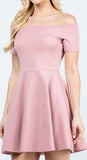 La Scala 25795 Off the Shoulder Short Sleeve Skater Dress Blush