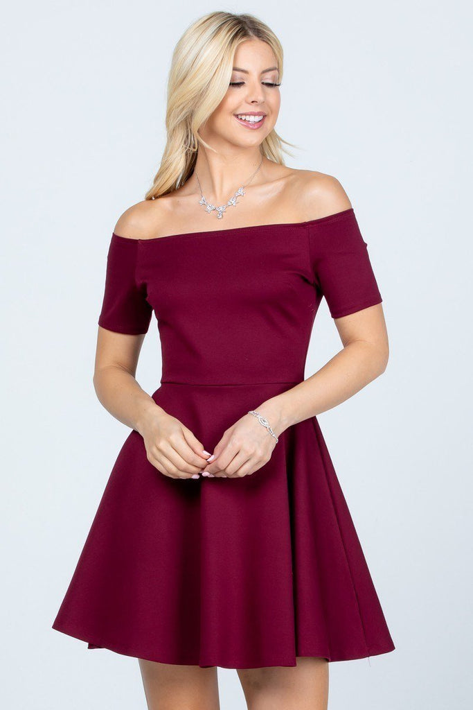 La Scala 25795 Off the Shoulder Short Sleeve Skater Dress Burgundy