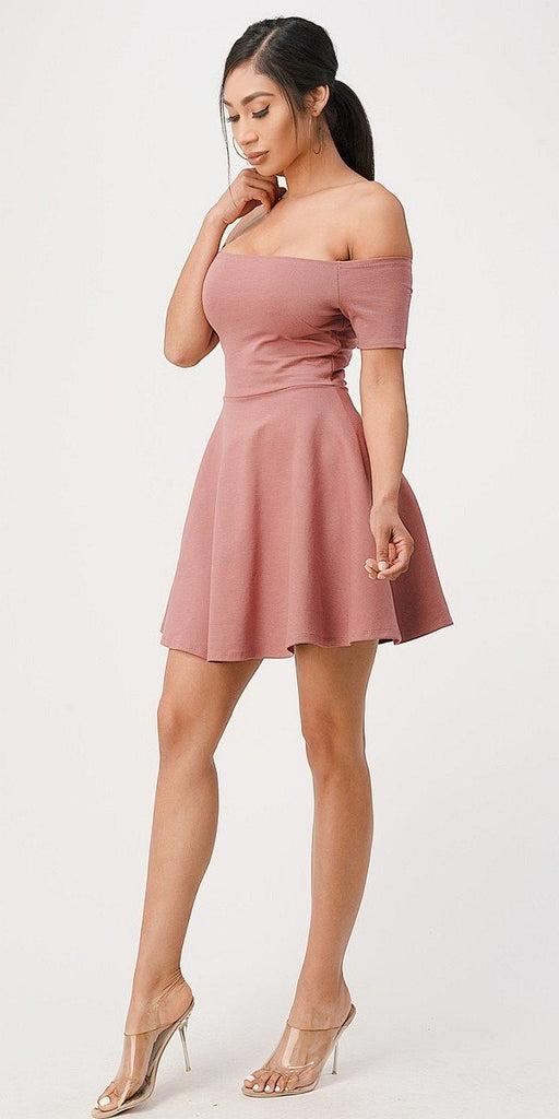 La Scala 25795 Off the Shoulder Short Sleeve Skater Dress Dark Mauve