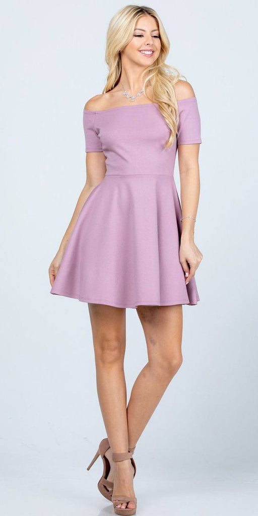 La Scala 25795 Off the Shoulder Short Sleeve Skater Dress Dusty Pink