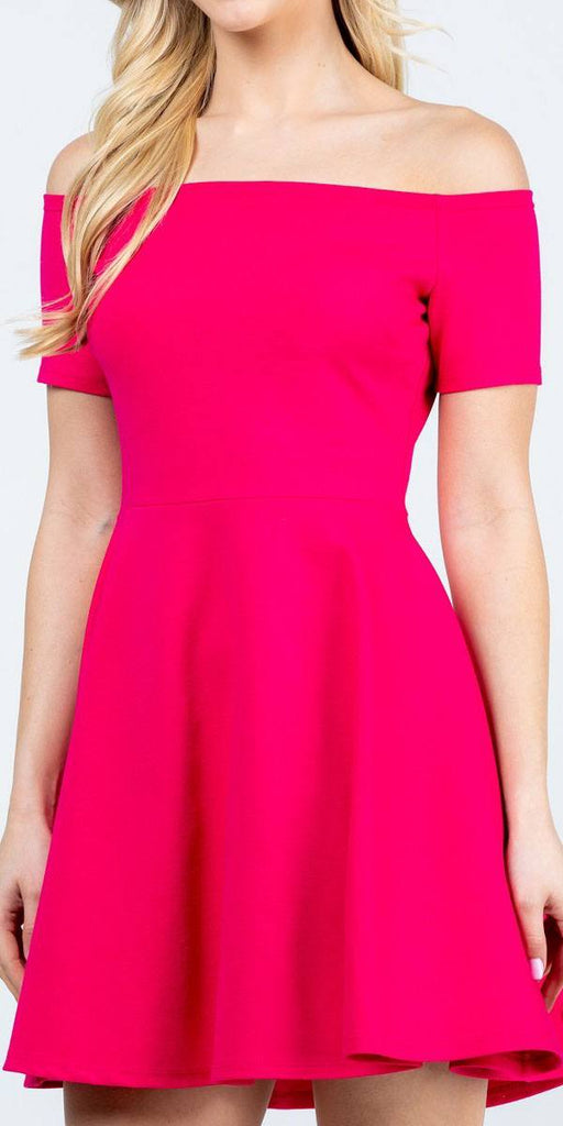 La Scala 25795 Off the Shoulder Short Sleeve Skater Dress Fuchsia