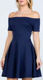 La Scala 25795 Off the Shoulder Short Sleeve Skater Dress Navy Blue