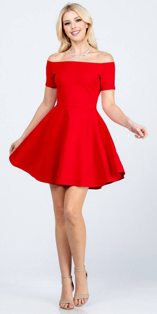 La Scala 25795 Off the Shoulder Short Sleeve Skater Dress Red