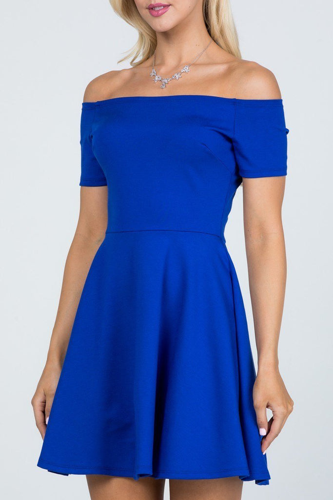 La Scala 25795 Off the Shoulder Short Sleeve Skater Dress Royal Blue