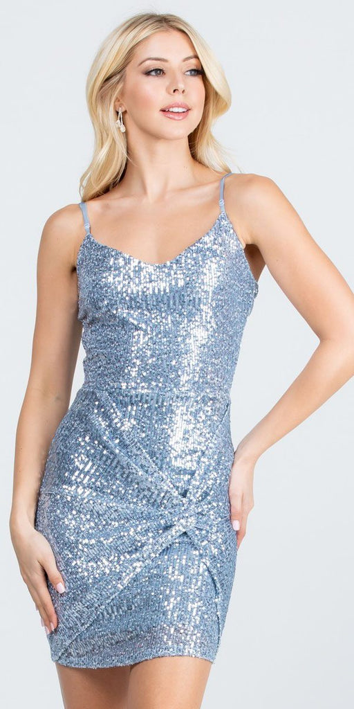 Short Sequins Cocktail Blue Dress Body Con Spaghetti Strap