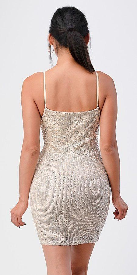 Short Sequins Cocktail Cream Dress Body Con Spaghetti Strap